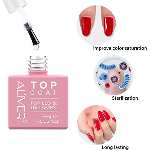 Top coat y Base Coat Semipermanente Esmalte Semipermanente UV LED Kit, 2x15ML