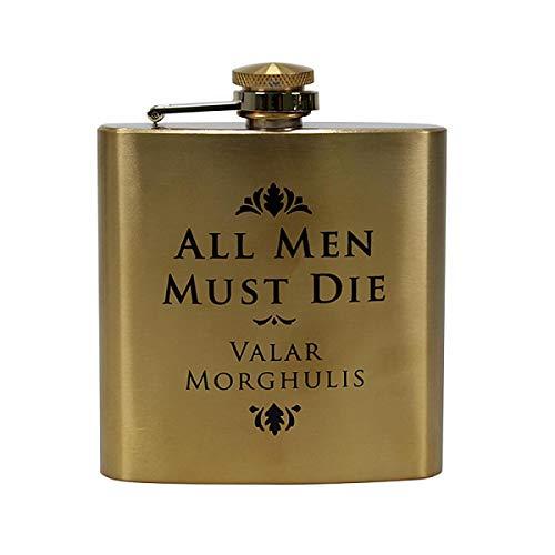 Game of Thrones Flachmann All Men Must Die - goldfarben, Bedruckt, aus gebürstetem Edelstahl, Fassungsvermögen ca. 200 ml.