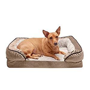 Furhaven Pet Dog Bed – Orthopedic Plush Velvet Waves Perfect Comfort Traditional Sofa-Style Living Room Couch Pet Bed with Removable Cover for Dogs and Cats, Brownstone, Medium