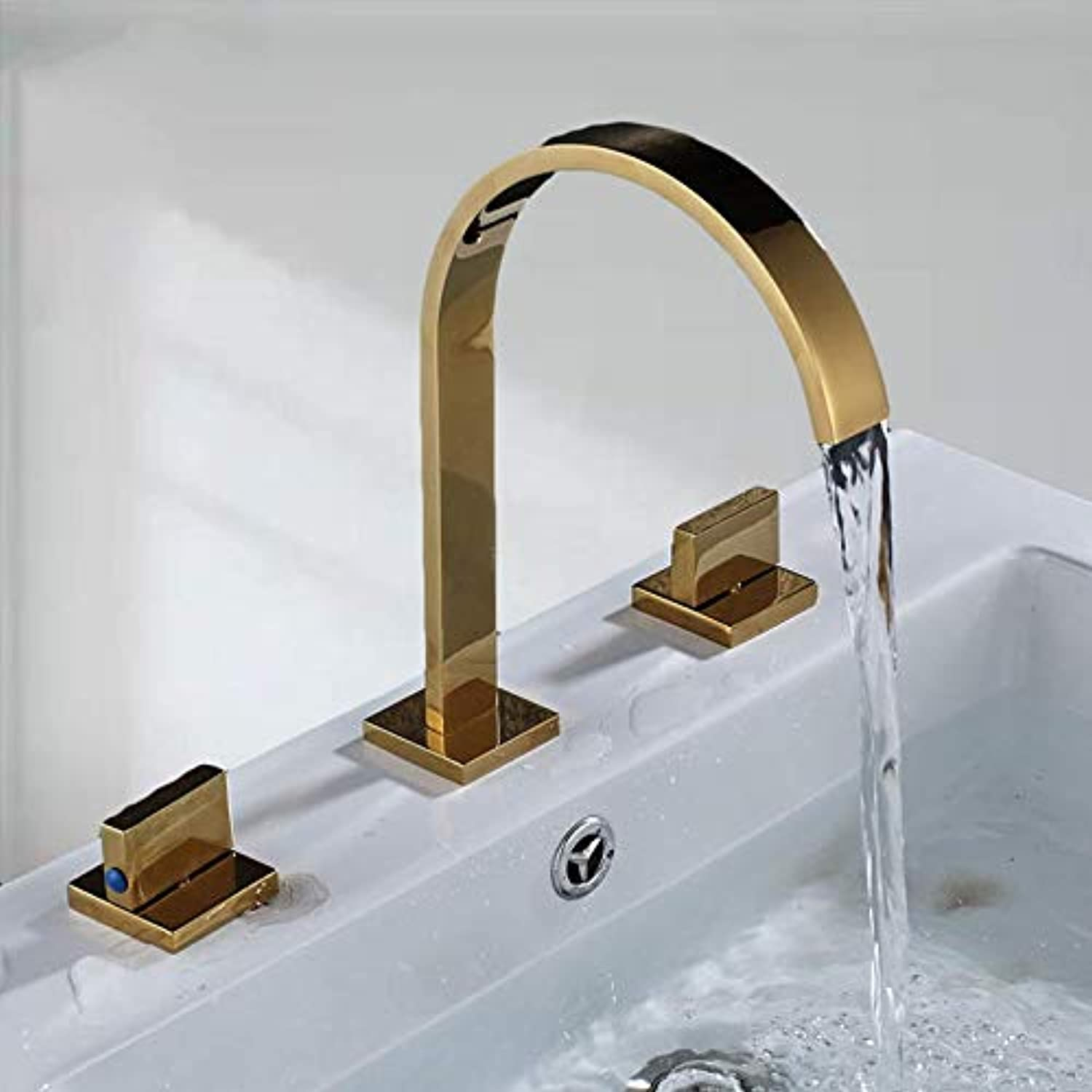 Gcbpwh tap Bathroom Basin Faucet Hot and Cold Water Faucet Three Holes Two Handle Mixers Tap