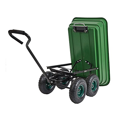 Livebest Heavy-Duty Wagon Carrier Garden Dump Cart Wheel Barrow Air Tires Sand Wagon with Handle and 10
