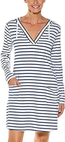 Coolibar UPF 50+ Women's Catalina Beach Cover-Up Dress - Sun Protective (XX-Large- Navy/White Stripe)