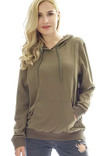 Bearsland Women's Maternity Sporty Hoodie Breastfeeding Shirt Nursing Sweatshirt with Pockets,ArmyGreen,s