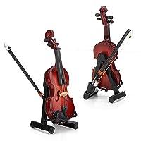 ドールハウスバイオリン、1:12ミニチュア楽器ドールハウスミニチュアバイオリン、木製素材ドールハウスキッズ用4.33x1.77x1.18インチ
