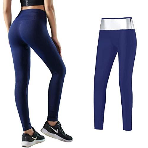 MATEHOM Pantalones Deportivos Mujer,Pantalones para Adelgazar,Leggins Anticeluliticos Cintura Alta, Mallas Fitness Push Up para Deporte Running Yoga Gym (XL)