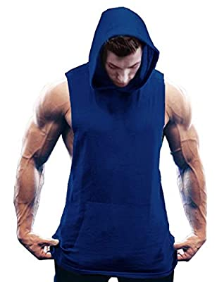 COOFANDY Men's Workout Hooded Tank Tops Bodybuilding Muscle Cut Off T Shirt Sleeveless Gym Hoodies Blue by