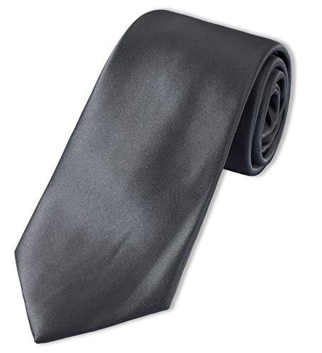 Parsley einfarbige XXL-Krawatte | extra lang, Seide (Schwarz)