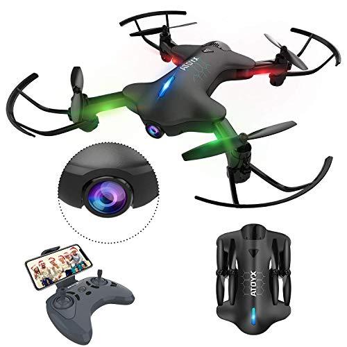 ATOYX Drohne mit Kamera, Drohne Faltbare mit WiFi FPV 720 HD App, Höhenlage halten, Headless-Modus, EIN Startschlüssel und RTF-Schwerkraftlandung,, Schwarz AT-146