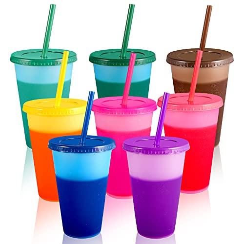 Farbwechsel Becher Trinkbecher mit Strohhalm & Deckel - 470ml Plastikbecher Mehrweg Kinder Tasse Cup Travel Mug Tumbler Eiskaffee Kaltes Trinken Smoothie Saft Kaffeebecher - 8er Pack