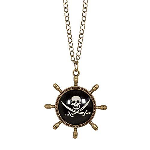 Boland 74148  Collar pirata, bisutera con colgante, para adultos, timn, calavera, joya, pirata, carnaval, Halloween, fiesta temtica