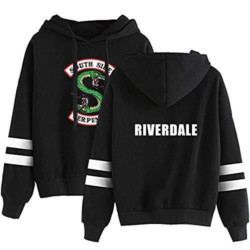 KIACIYA Unisex Riverdale Felpa con Cappuccio Southside Serpent Hoodie Felpe Riverdale per Donna Maglietta Manica Lunga Maglione con Stampa a Strisce Pullover Cappotto per Ragazzi e Ragazze (B-Nero,M)