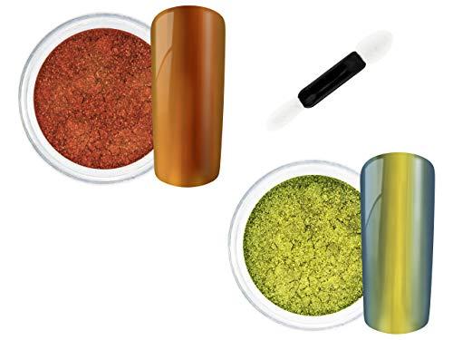Nail Art Pigmente Set - 2 x Mirror Chrome Flip Flop Pigmente Puder + Applikator