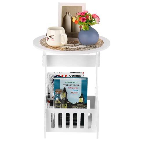 YINOX Mesa de centro redonda pequeña mesita de noche té fruta servicio plato bandeja sofá mesa auxiliar muebles hogar salón mesas de café