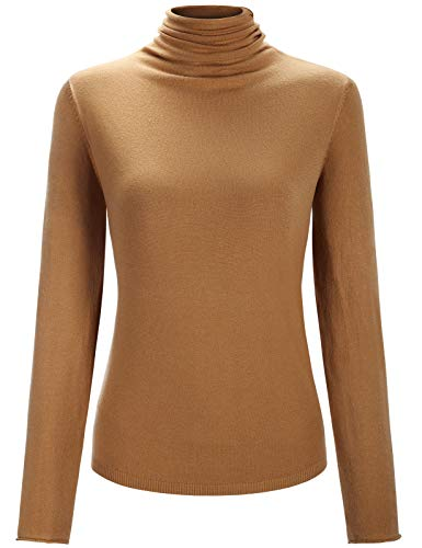 Miusey Basic Layering Tees for Women, Ladies Ribbed Turtleneck Shirts Long Sleeve Fall Clothes Trendy Warm Tops Slim Fit Classical Designers Style Comfy Easy Street Outdoor Brown M