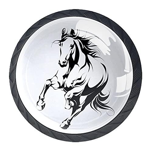 4 pomos redondos para puertas de armario o cajón, 3,5 x 2,8 cm, diseño de caballo galopo