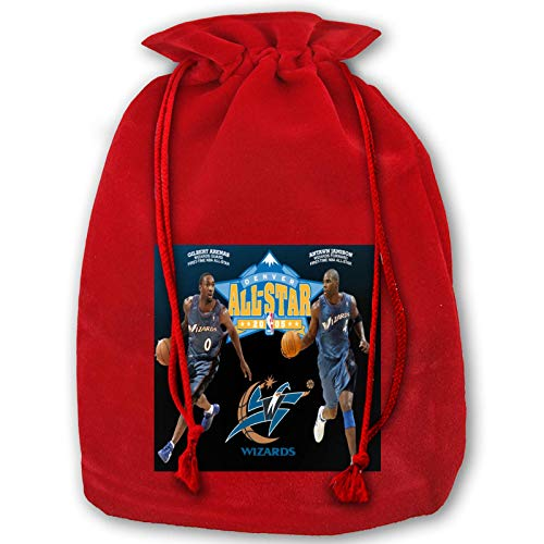 IUBBKI Anime Washington Basketball Wiz-ARDS Christmas Drawstring Gift Bag, Suitable for Holiday Parties, Parties, Classic Gift Decoration Bags, Santa Candy Beam Gift Bags
