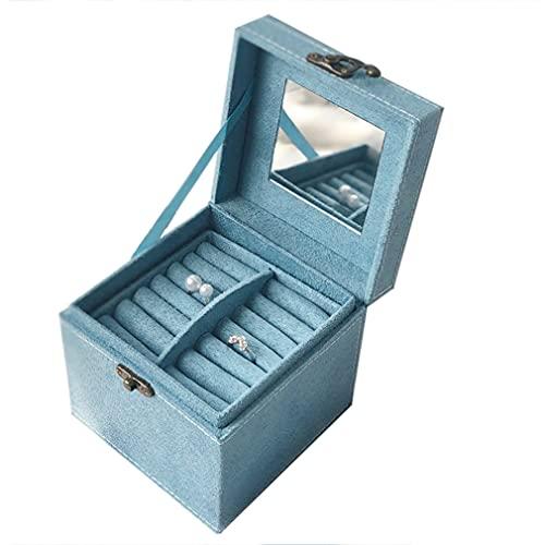 Joyero de terciopelo con 3 capas organizador de joyas con asa cajas de regalo para joyas y mujeres, caja de joyería para pendientes, pulsera y collar