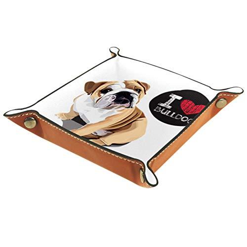 Bandeja de Servicio, Caja de Almacenamiento de Cuero de PU, Organizador de bandejas, Caja de Almacenamiento para Relojes, Joyas, Monedas, Llavero, Retrato, Perro doméstico, Raza de Bulldog