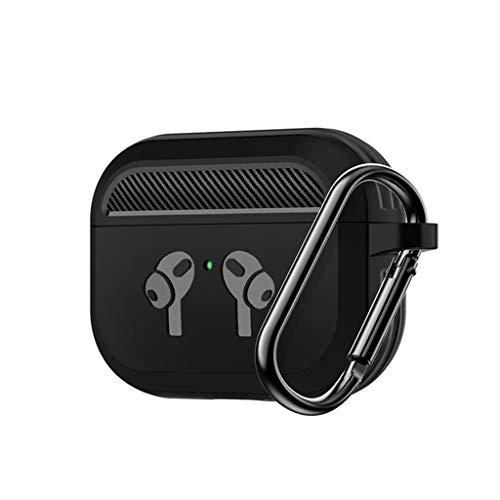 UKtrade Funda de protección contra caídas de fibra de carbono compatible con AirPods Pro BT Headset Case TPU (negro)