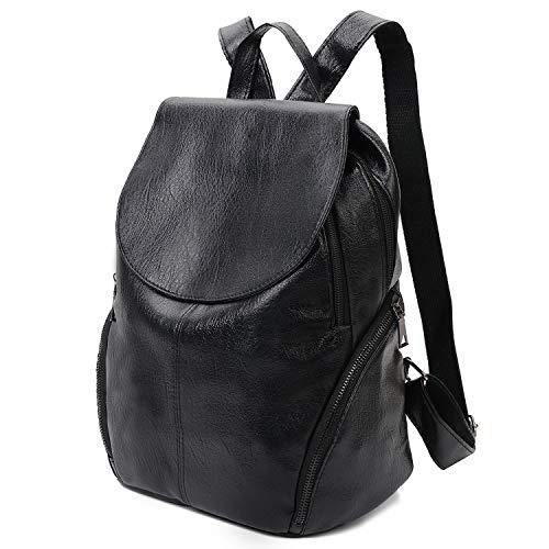 Fanspack Schwarz Leder Rucksack Damen Schwarz Elegant Rucksack Damen wasserdichte Tasche Anti-Diebstahl Daypack Schulrucksäcke Satchel Frauen Tasche Damen Leder