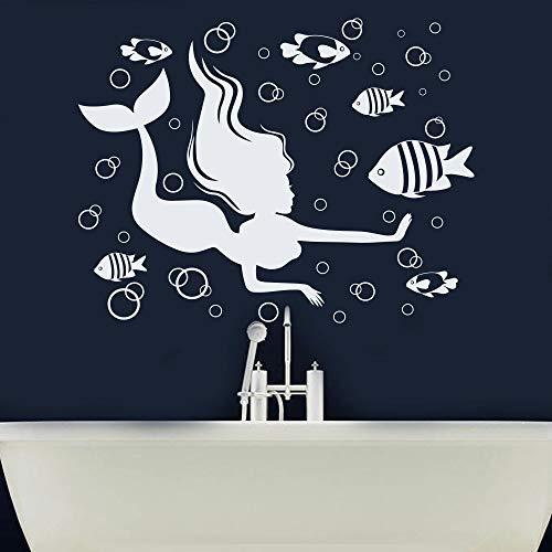 HGFDHG Adesivi murali Sirena Design Nautico Schiuma di Pesce Bagno Bambini Ragazze Camera da Letto Decorazione della casa Adesivi per finestre in Vinile Carta da Parati