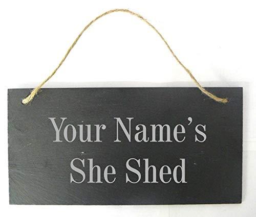 Derwent Laser Crafts Personalised 'She Shed' Slate Hanging Sign