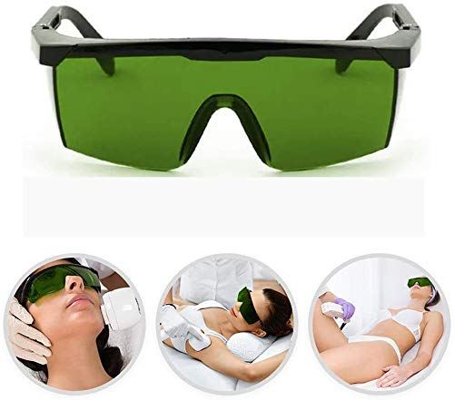 Lichtschutzbrille Schutzbrille für die HPL/IPL Haarentfernung Gerät Schutzbrille für IPL Haarentferner Einstellbar IPL Haarentfernungsgerät Brille für Körper Gesicht Bikini-Zone & Achseln (Dunkelgrün)