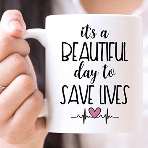 Taza de café   It's A Beautiful Day to Save Lives   Taza divertida   Taza de anatomía de Grey   Taza de enfermera   Regalo para médicos   Regalo para enfermeras