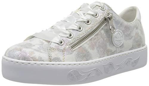 Rieker Damen Frühjahr/Sommer N3731 Sneaker, Weiß (Weiss-Multi/Weiss/ 90 90), 39 EU