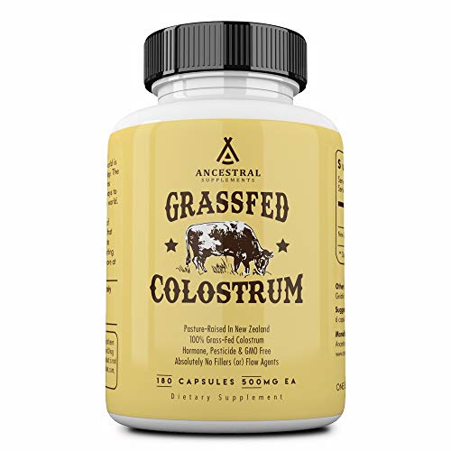 Ancestral Supplements Grass Fed Colostrum — Supports Immune, Gut, Growth and Repair (180 Capsules)