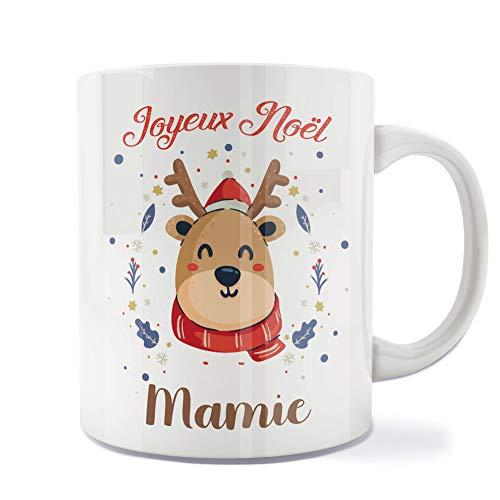 Mug | Tasse | Café | Thé | Petit-déjeuner | Vaisselle | Céramique | Original | Imprimé | Message | Fêtes | Idée cadeau | Renne de Noël - Joyeux Noël Mamie