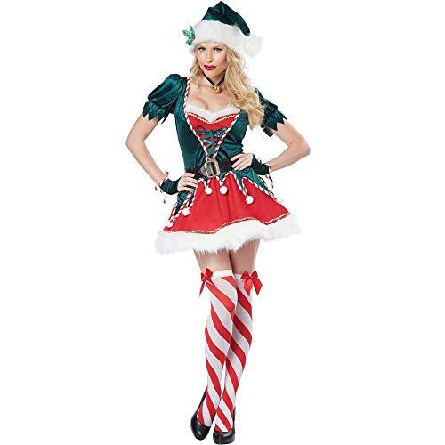 Disfraz de Elfo de Pap Noel para Adulto, Disfraz de Elfo de Navidad para Mujer, Conjunto Completo con Cinturones, Sombrero, calcetn, Disfraz de Cosplay de Elfo