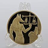 Beautiful Collection of Coins Gold Plated Egypt Death Protector Anubis Coin Copy Coins Egyptian God of Death Commemorative Coins Collection Gift for Dad/Boyfriends/Husband Gift Forever