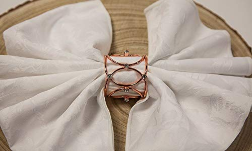 Crown Jewel Metal Napkin Rings 3 Colours Xmas Dinner Event Wedding Pack of 6 (Rose Gold)