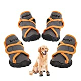 Bowite Dog Boots Waterproof Shoes with Sturdy Anti-Slip Soles and Cross Straps, Suitable for Walking and Standing, Hiking and Running(M,LightGrey)
