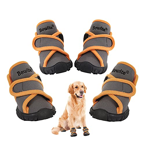 Bowite Dog Boots Waterproof Shoes with Sturdy Anti-Slip Soles and Cross Straps, Suitable for Walking...