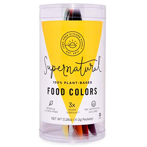Food Colors Variety Pack by Supernatural, Natural, Gluten-Free, Vegan, No Artificial Dyes, Soy Free for Healthy Baking (4 Packets)