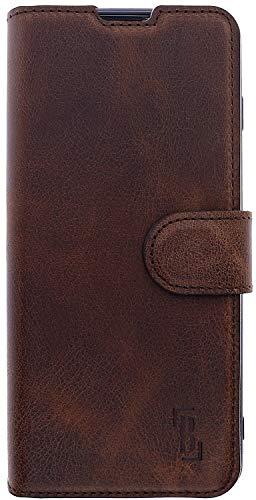 Preisvergleich Produktbild Burkley Handyhülle für Samsung Galaxy S10 Leder-Hülle kompatibel mit Galaxy S10 Handytasche - TÜV geprüfter RFID / NFC Schutz - Kartenfach (Antik Kaffee Braun)