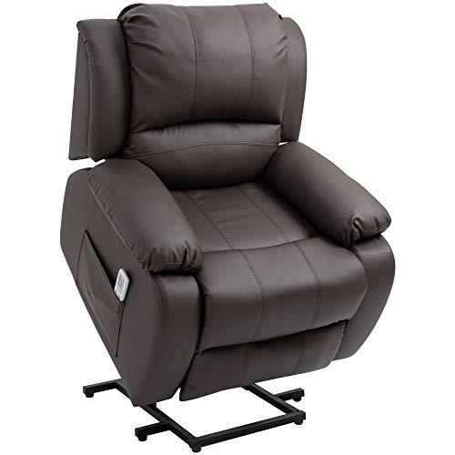 HOMCOM Massagesessel Aufstehhilfe, Relaxsessel, Fernsehsessel mit Massagefunktion, Liegefunktion, Stahl+Holz+PU+Schaumstoff, Braun, 92 x 92,5 x 101 cm
