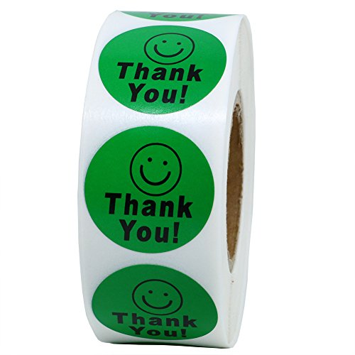 Hybsk(TM) Round Thank You Smiley Face Happy Stickers 1,000 Adhesive Labels Per Roll (green)