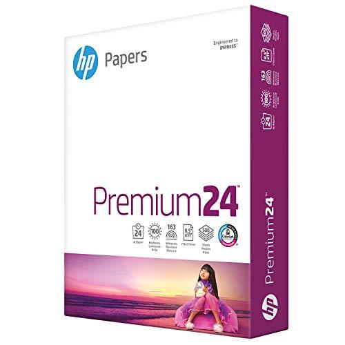HP Paper Printer Paper 8.5x11 Premium 24 lb 1 Ream 500 Sheets 100 Bright Made in USA FSC Certified Copy Paper Compatible 115300R, White, 112400R