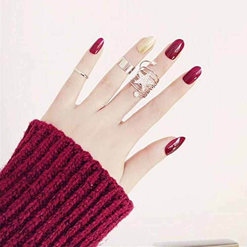 シャット雪だるまを作るセミナー丸頭爪チップ 24枚入 2色手作りネイルチップ 深い赤 金 可愛い 優雅ネイル 結婚式、写真を撮る、パーティー、二次会などに メタルリング 両面接着テープ付き