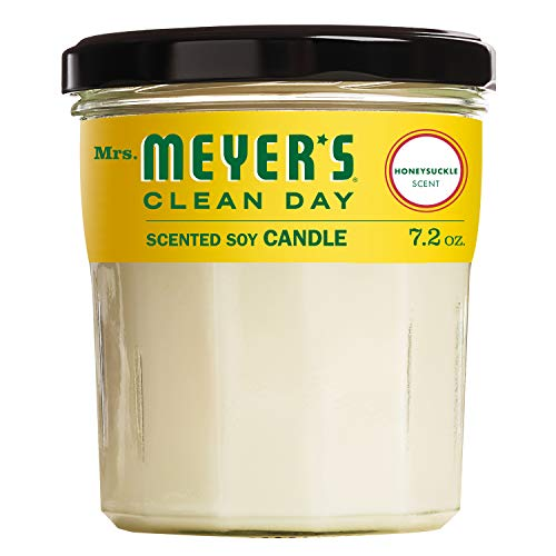 Mrs. MEYER'S CLEAN DAY Scented Soy Aromatherapy Candle, 35 Hour Burn Time, Made with Soy Wax, Honeysuckle, 7.2 oz