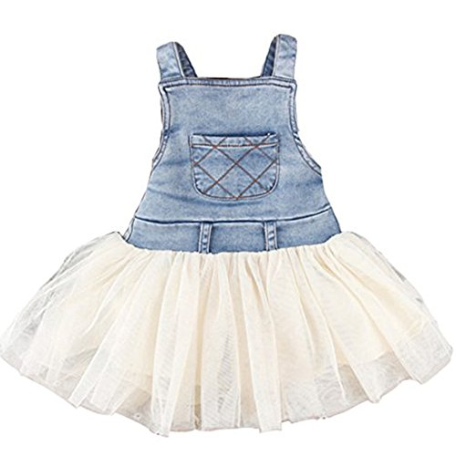 Meihuida Kids Baby Girls Clothes One-Piece Dress Summers Denim Tulle Overalls (80)
