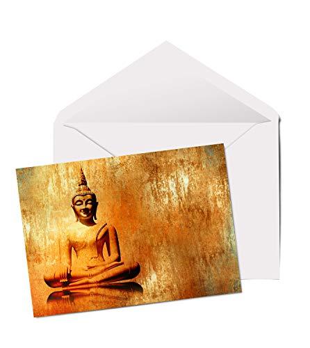 #3145 Glückwunschkarte/Geburtstagskarte/Jubiläum, Motiv: goldener Buddha, A5, blanko