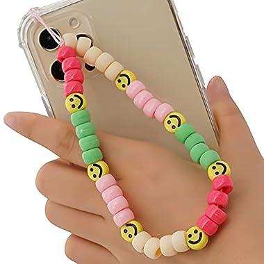 Beaded Phone Charm Lanyard Wrist Strap, Phone Lanyard Charm Strap Bohemian Colorful Bead Phone Charm Anti-Lost Mobile…