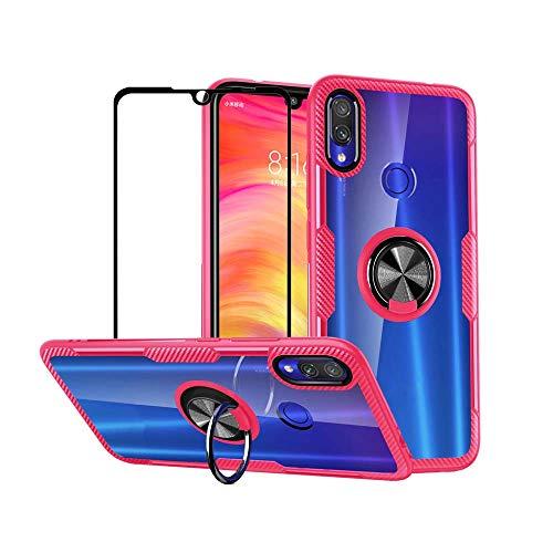 Funda para Xiaomi Redmi Note 7 Pro/Redmi Note 7 Case Protector de Pantalla de Cristal Templado,360°Giratorio Metal Anillo,Rugged Armor Protección Bumper,Transparente Carcasa...