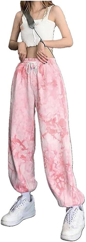 NP Pink tie-dye Casual Pants Ladies Harajuku high Waist Casual Retro