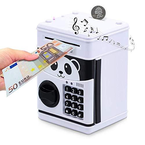 YUNYODA Banco de dinero electrónico, mini cajero automático, hucha electrónica con contraseña, banco de dinero para niños, dinero automático en espiral, monedas en efectivo, tarro de dinero seguro