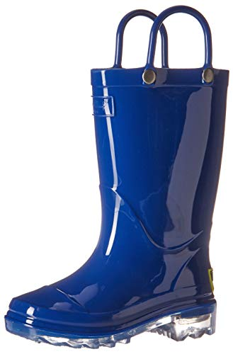Western Chief unisex child Waterproof Pvc Light-up Rain Boot, Solid Blue, 13 Little Kid US